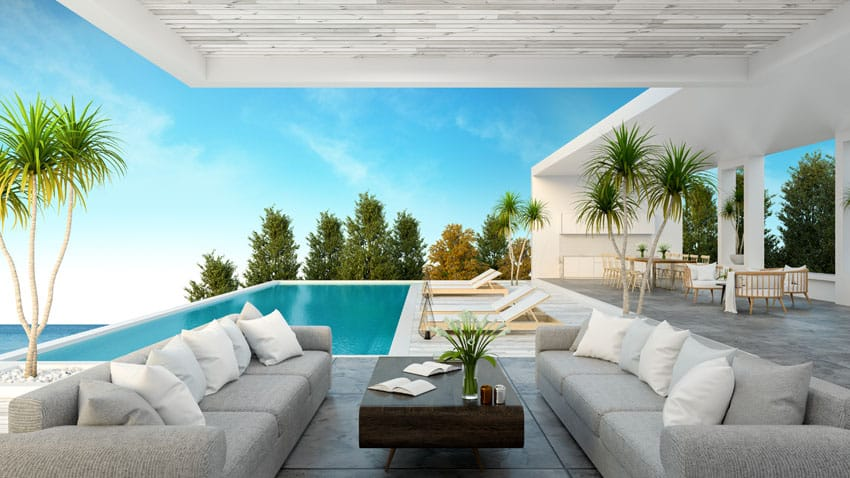 Luxury covered patio with small rectangular pool