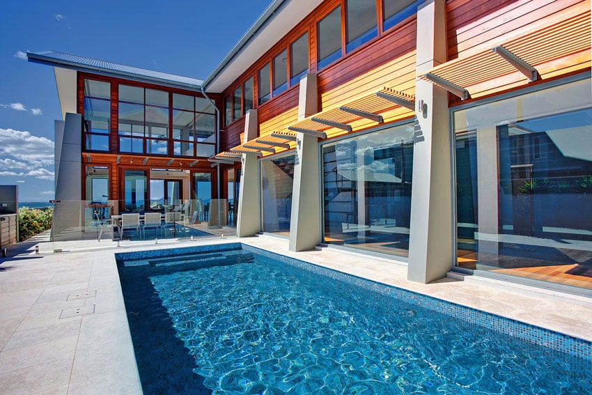 Luxury modern home with swimming pool and patio