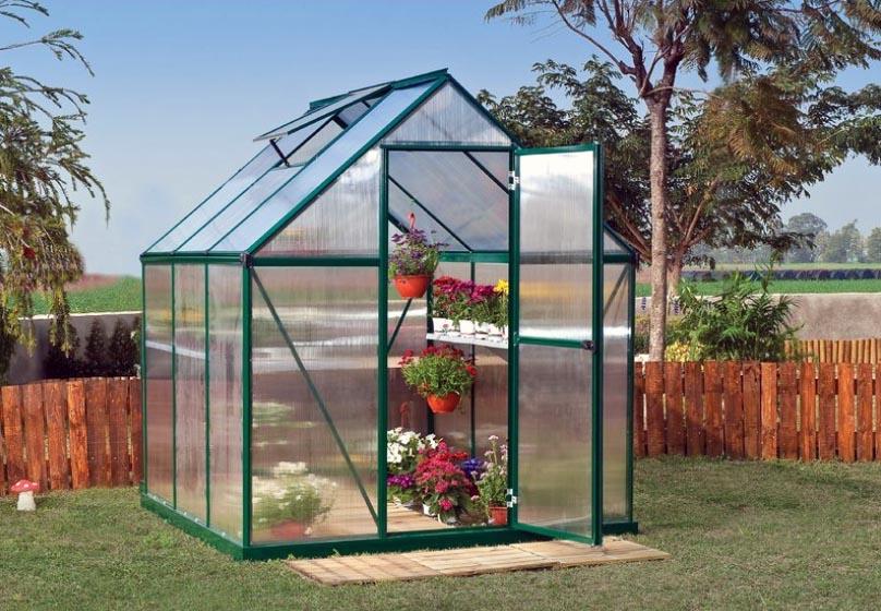 Metal backyard greenhouse