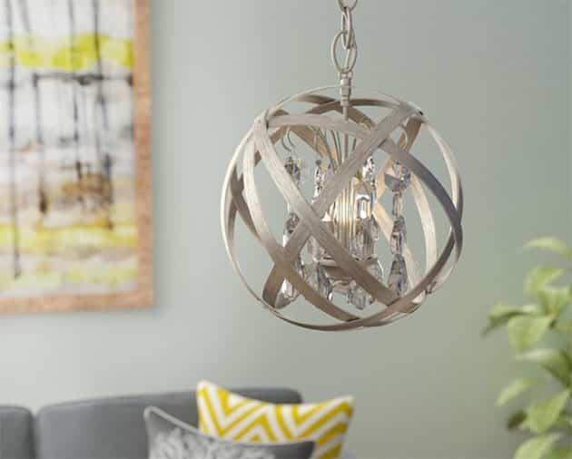 Modern glam style wood globe chandelier light