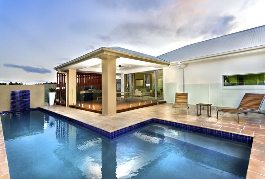 Modern linear swimming pool with canopy