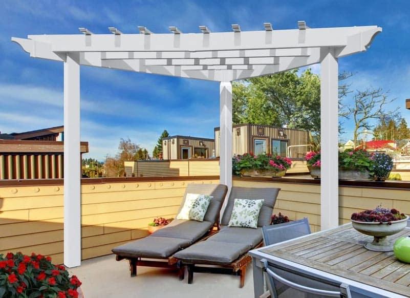 Modern patio pergola kit with triangle shape