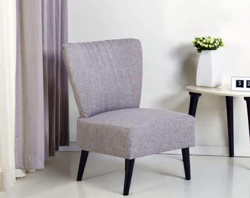 Modern slipper chair in gray