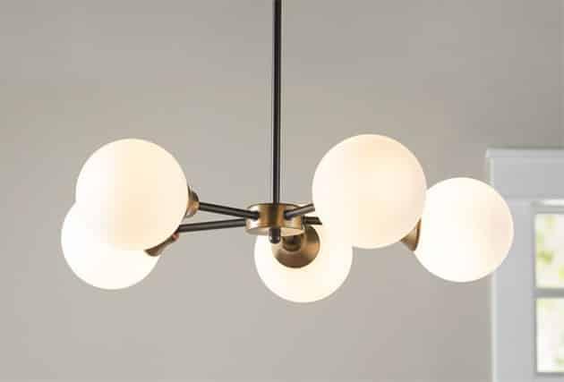 Modern sputnik globe chandelier with 5 lights