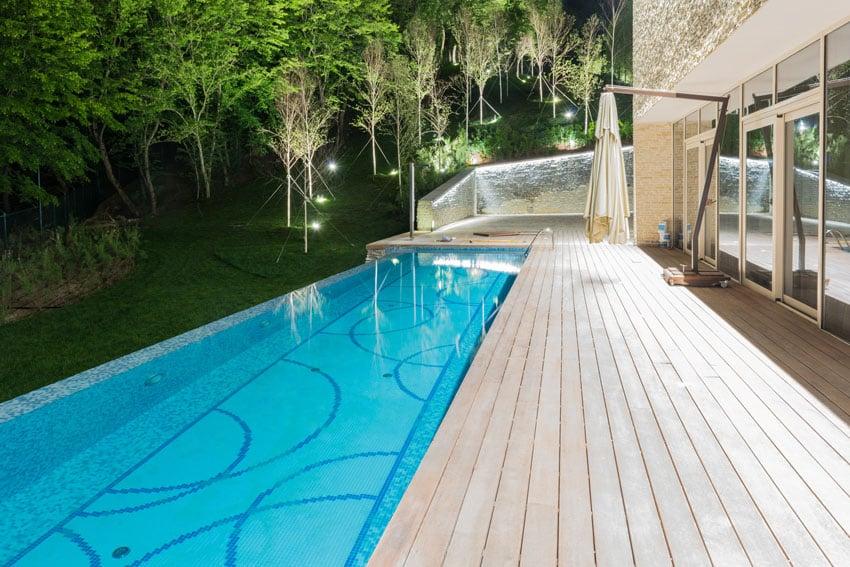 Modern swimming pool with decorative bottom design