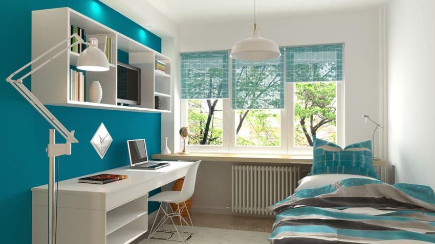 Modern teenage girl bedroom in teal