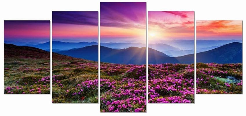 Mountain sunset with flowers print