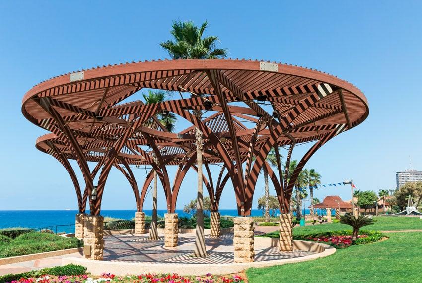 Round modern pergola with ocean views