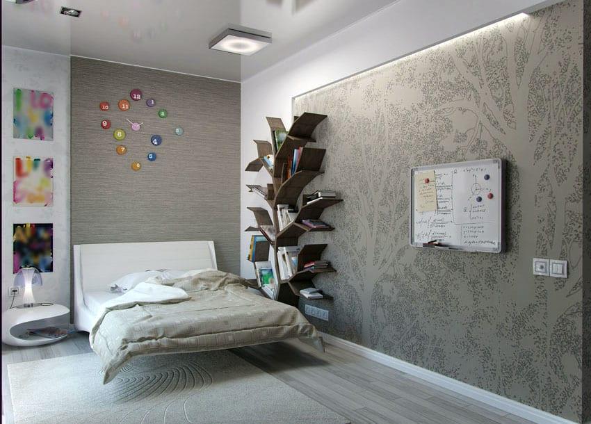 Teen bedroom interior design with custom bookshelf
