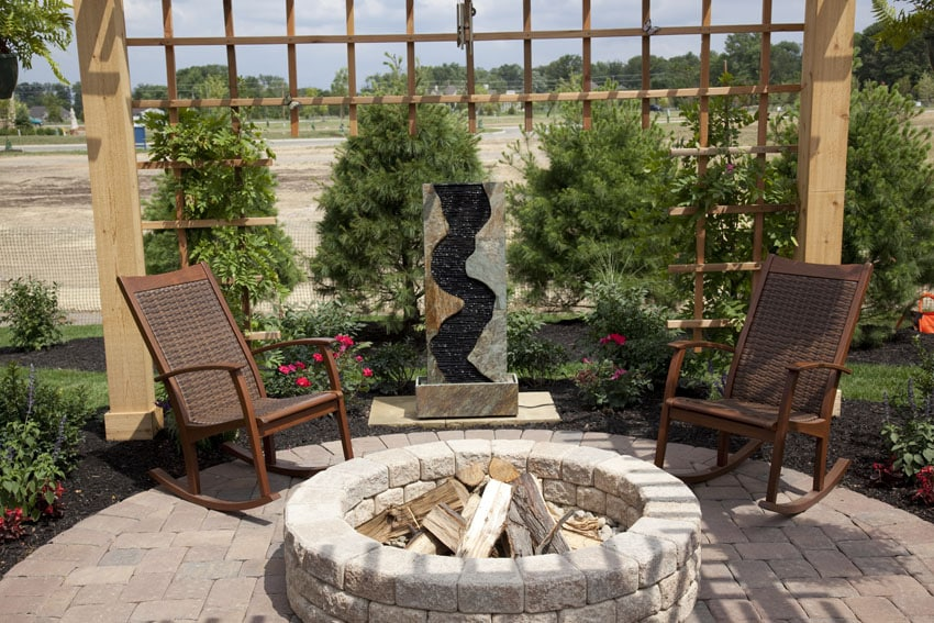 Water feature next to patio fire pit