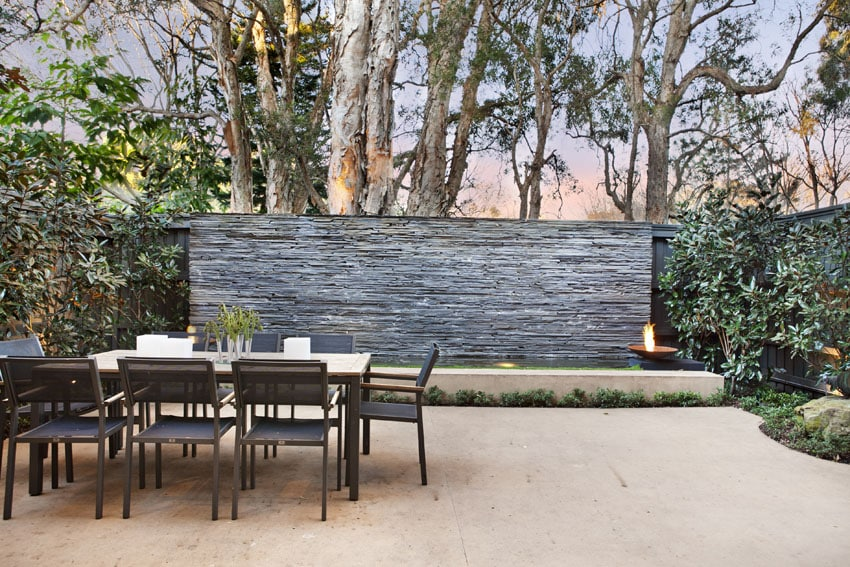 Waterwall water feature in backyard patio