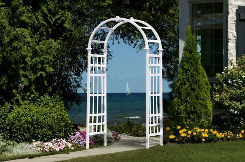 White vinyl garden arbor