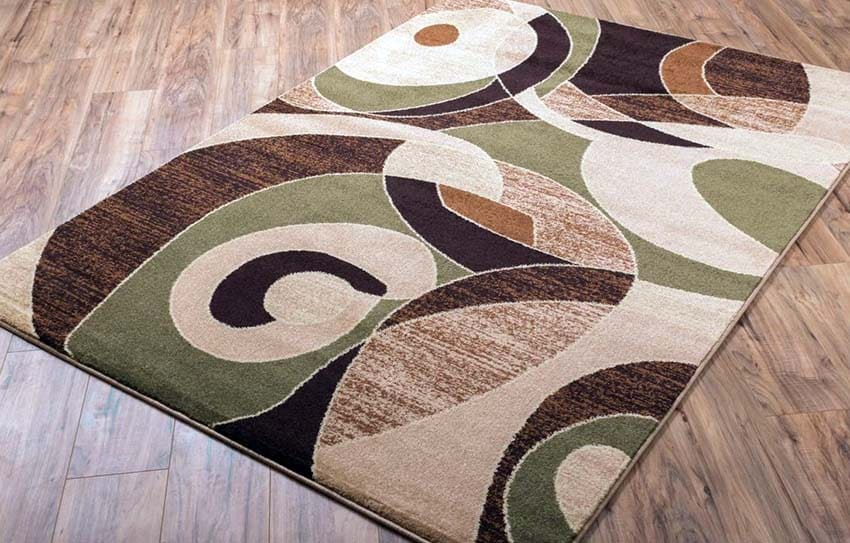 Zen style green and brown area rug