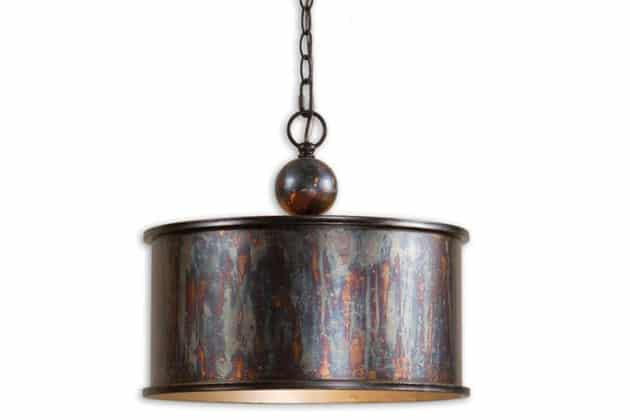 Antiqued metal drum pendant with bronze finish