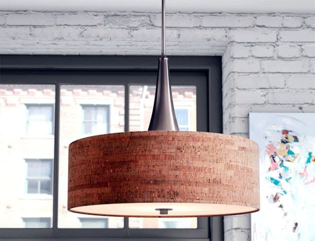 Brushed steel drum pendant light with cork shade