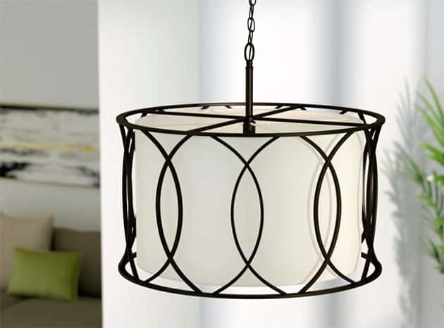 Drum light pendant with oil rubbed bronze finish