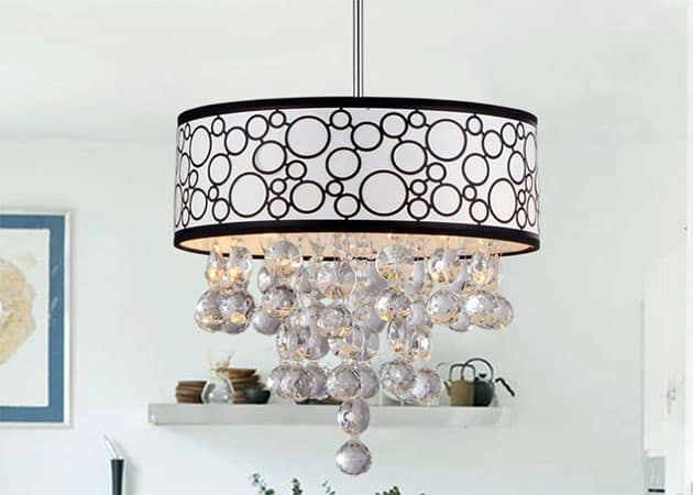 Gray drum pendant chandelier