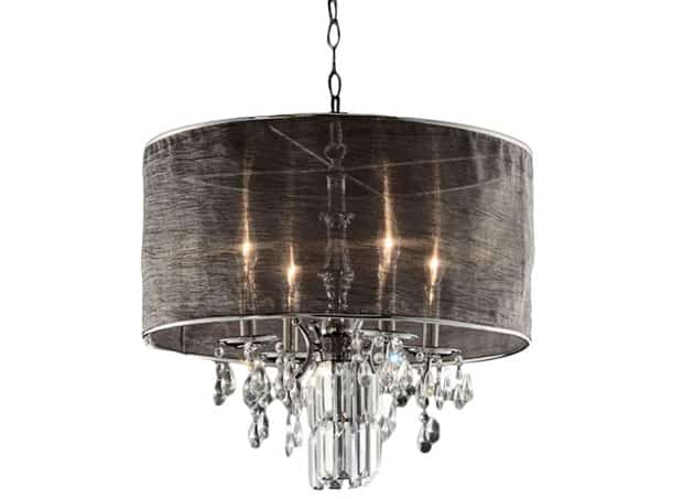 Sheer linen drum pendant chandelier