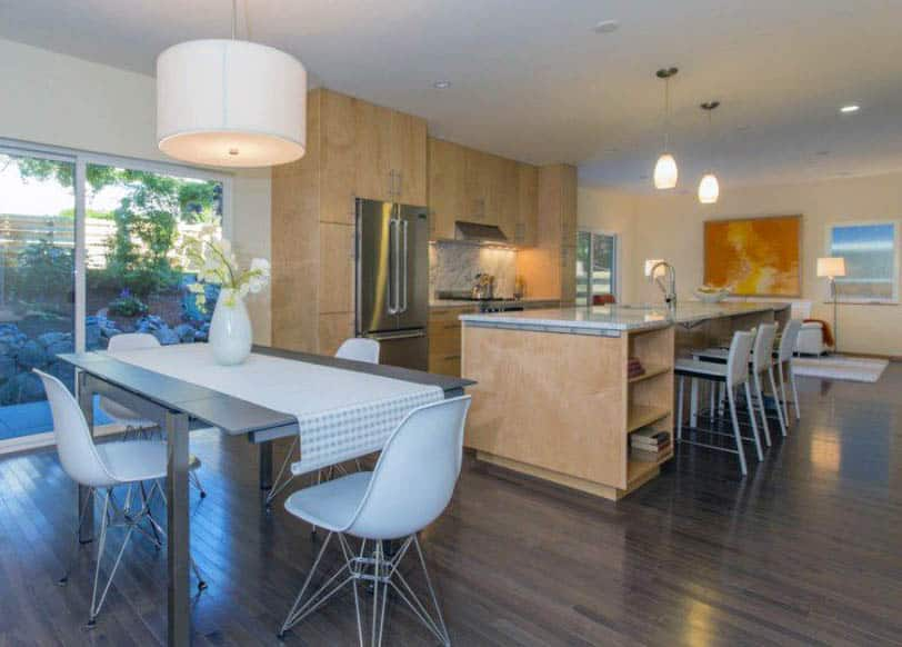 Contemporary kitchen with maple cabinets