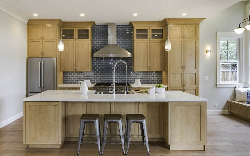 Contemporary kitchen with maple wood cabinets