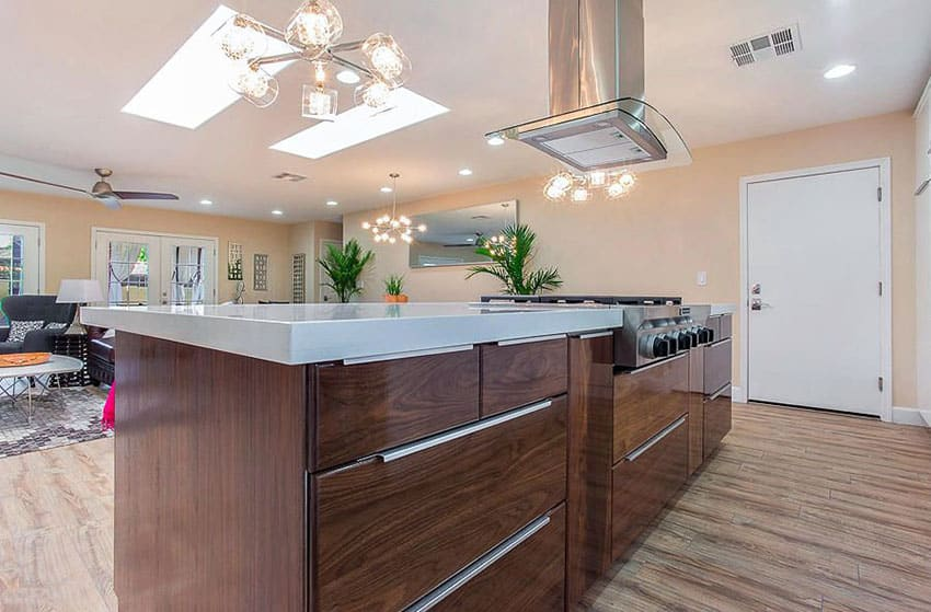 Contemporary kitchen with walnut wood cabinet island