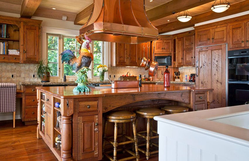 Country kitchen with knotty alder wood cabinets