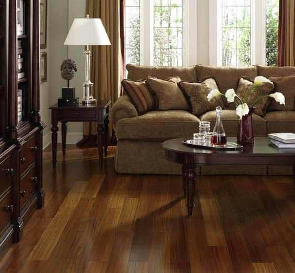 Engineered brazilian teak wood flooring in living room