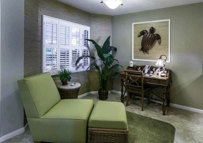 Home office with neutral green paint color and green side chair