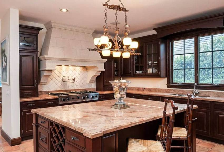 Traditional kitchen with cherry wood cabinets granite island and l shape design
