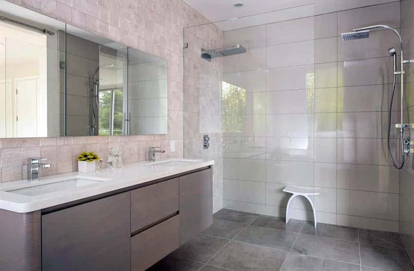 contemporary-bathroom-with-infinity-shower-drain-frameless-glass-shower-and-double-sink-vanity