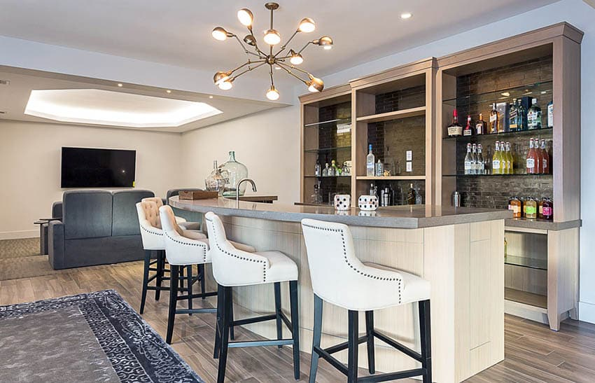 Contemporary home bar living room with hardwood flooring