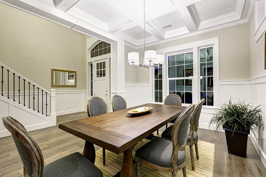 Dining room with multiple drum chandelier