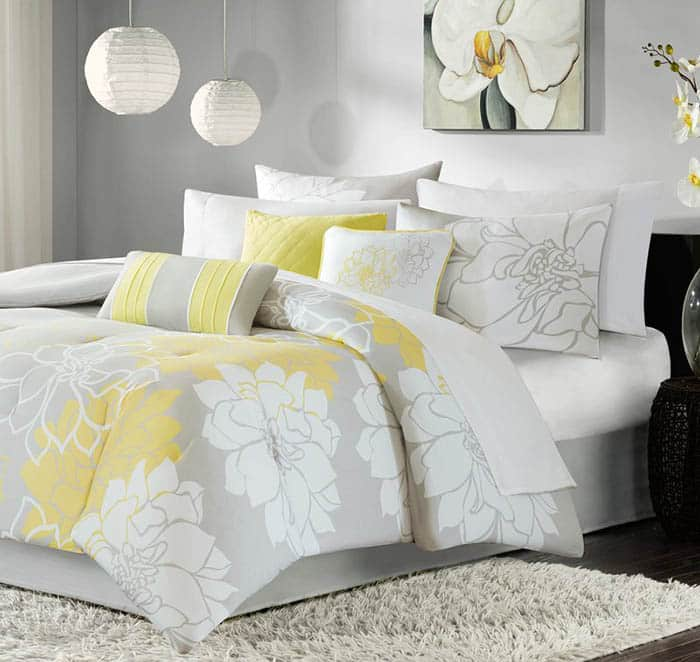 Gray and yellow comforter set with floral print