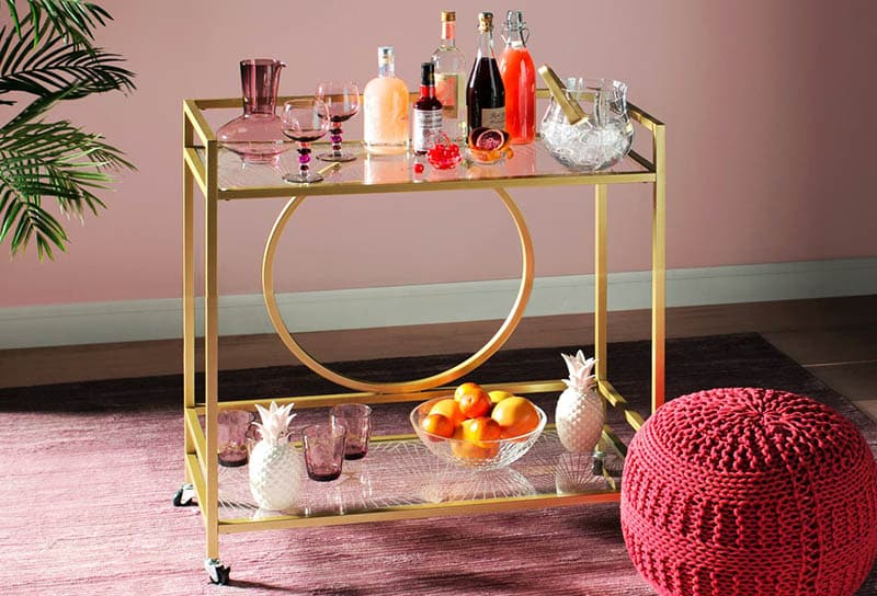 Rolling bar cart with art deco design