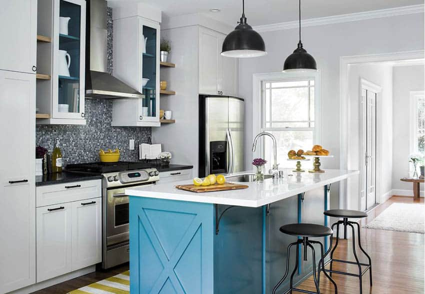 white-kitchen-with-bright-blue-island-and-black-bar-stools