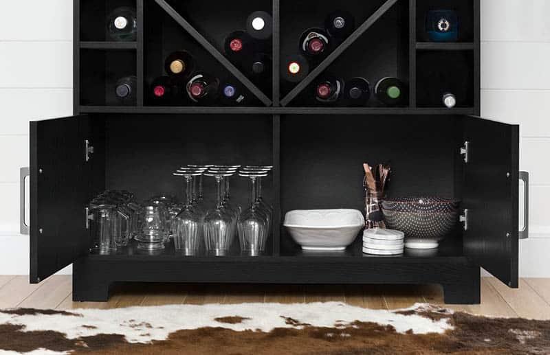 Wine bar cabinet storage