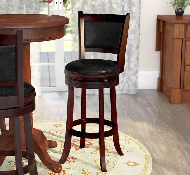 Wood swivel bar stool