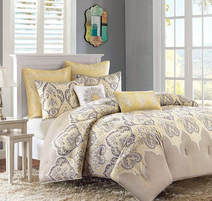yellow-and-gray-comforter-sheet-set