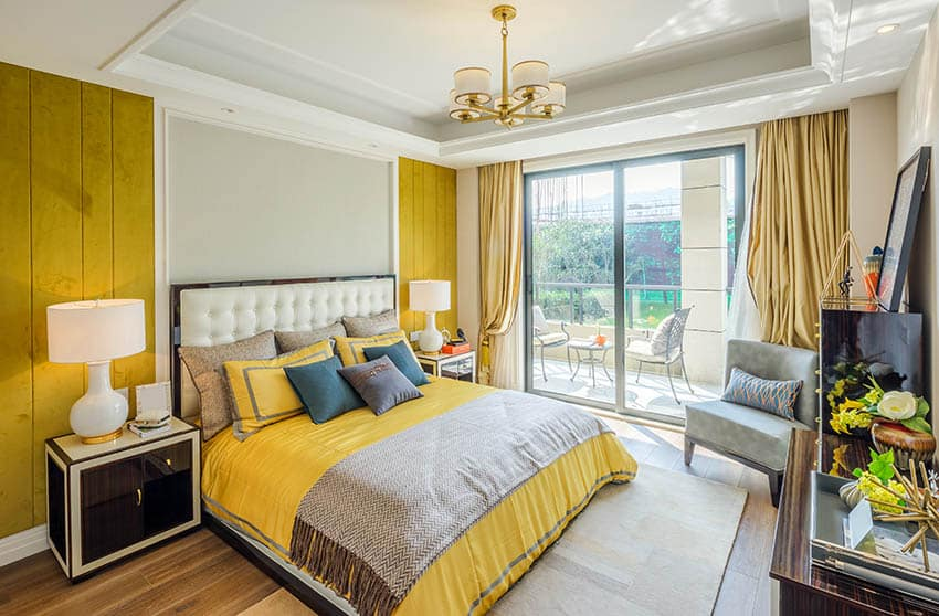 Yellow and gray bedroom design with balcony