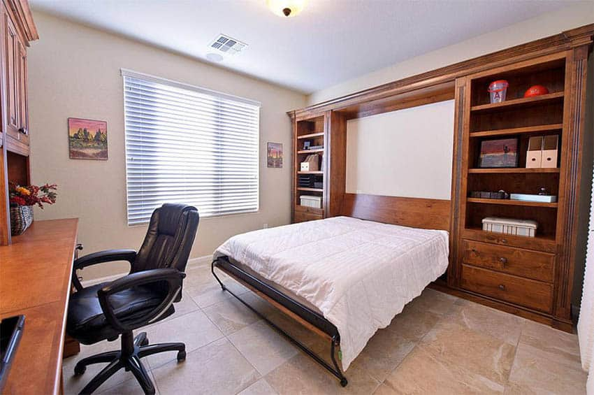 Bedroom with space saving murphy bed and office desk