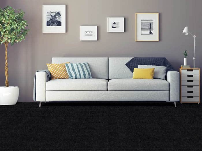 Black polyester carpet in living room