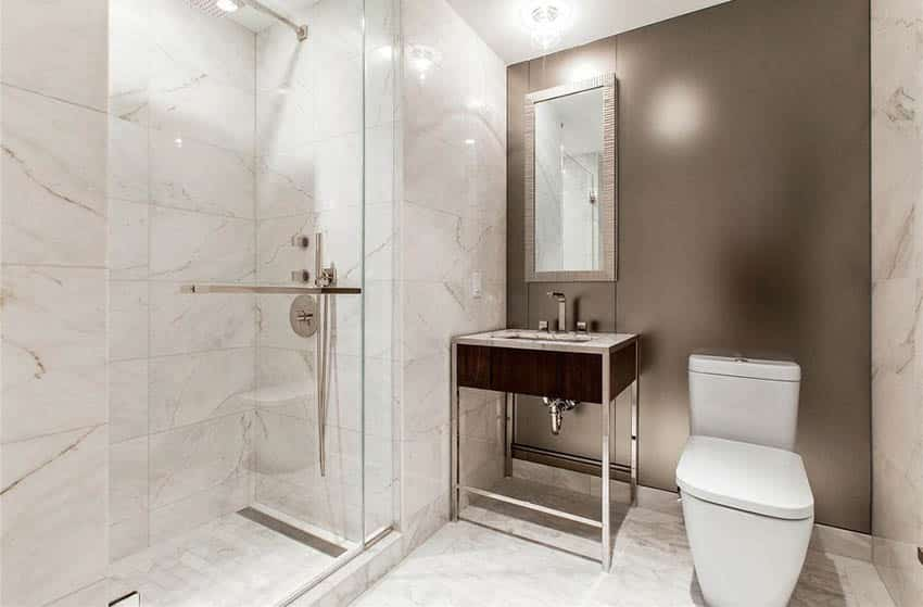 Contemporary bathroom with marble tile shower