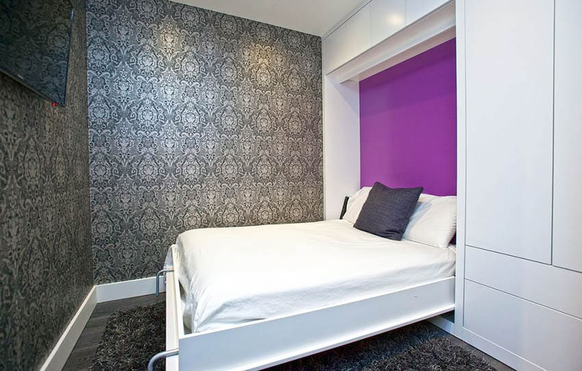 Contemporary bedroom with pull down murphy bed