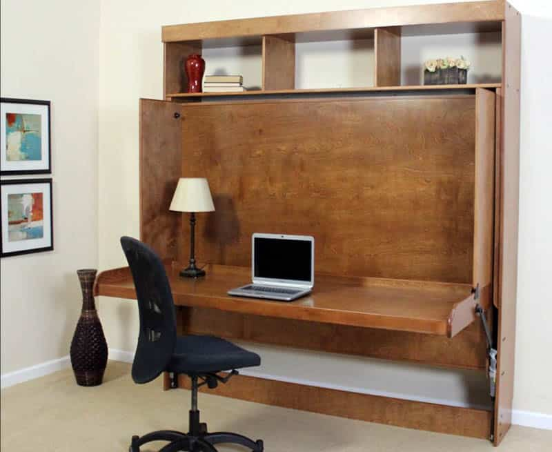 Fold up office desk and fold down murphy bed