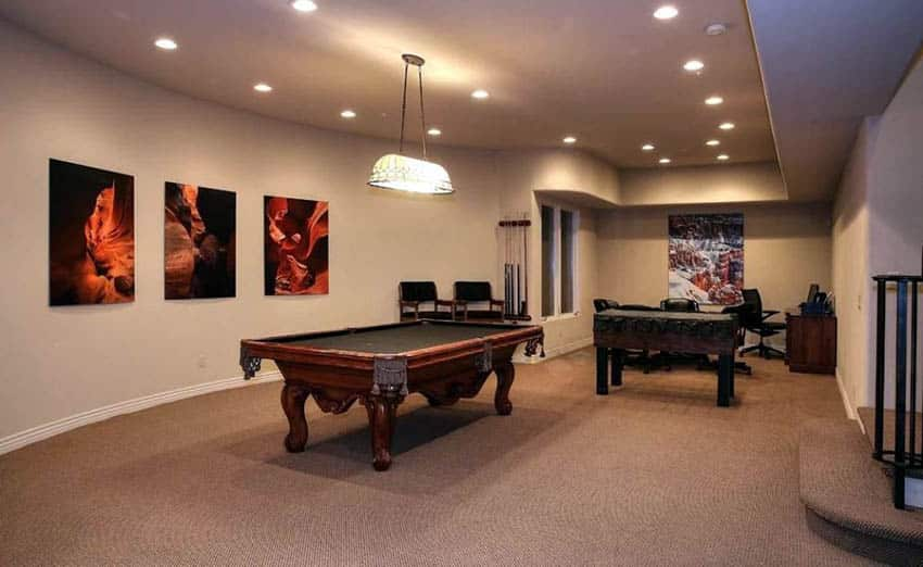 Game room with brown carpet