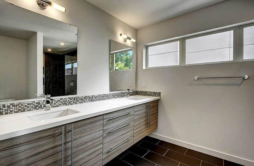 Gray bathroom with white quartz countertop