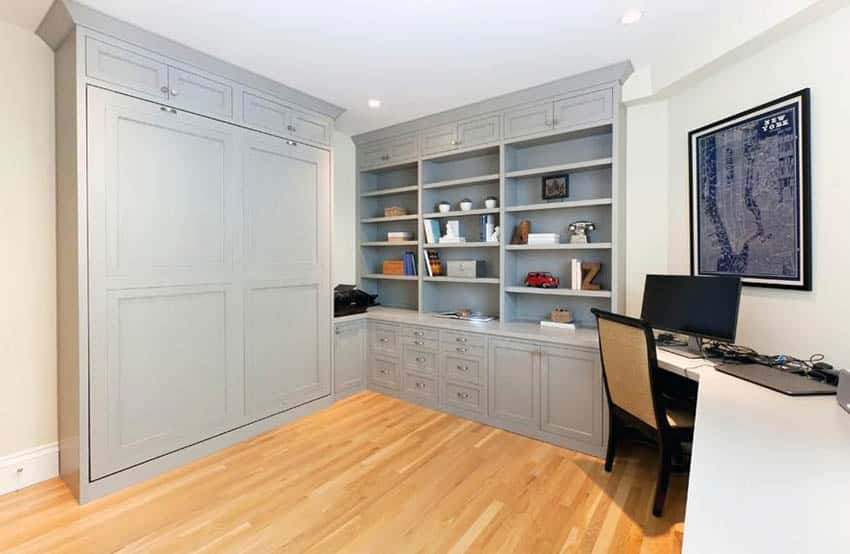 Home office with pull down murphy bed