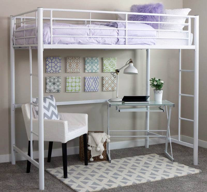 Metal twin loft bed with white color design
