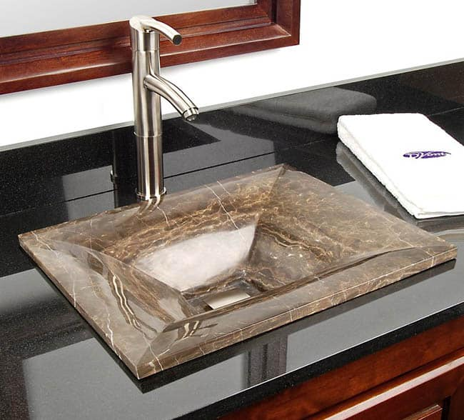 Natural stone vessel sink