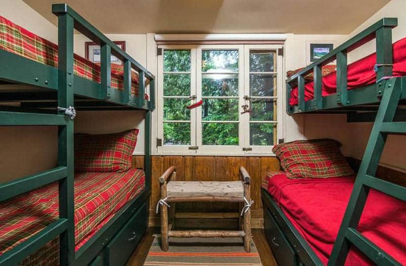 Rustic bedroom with bunk beds